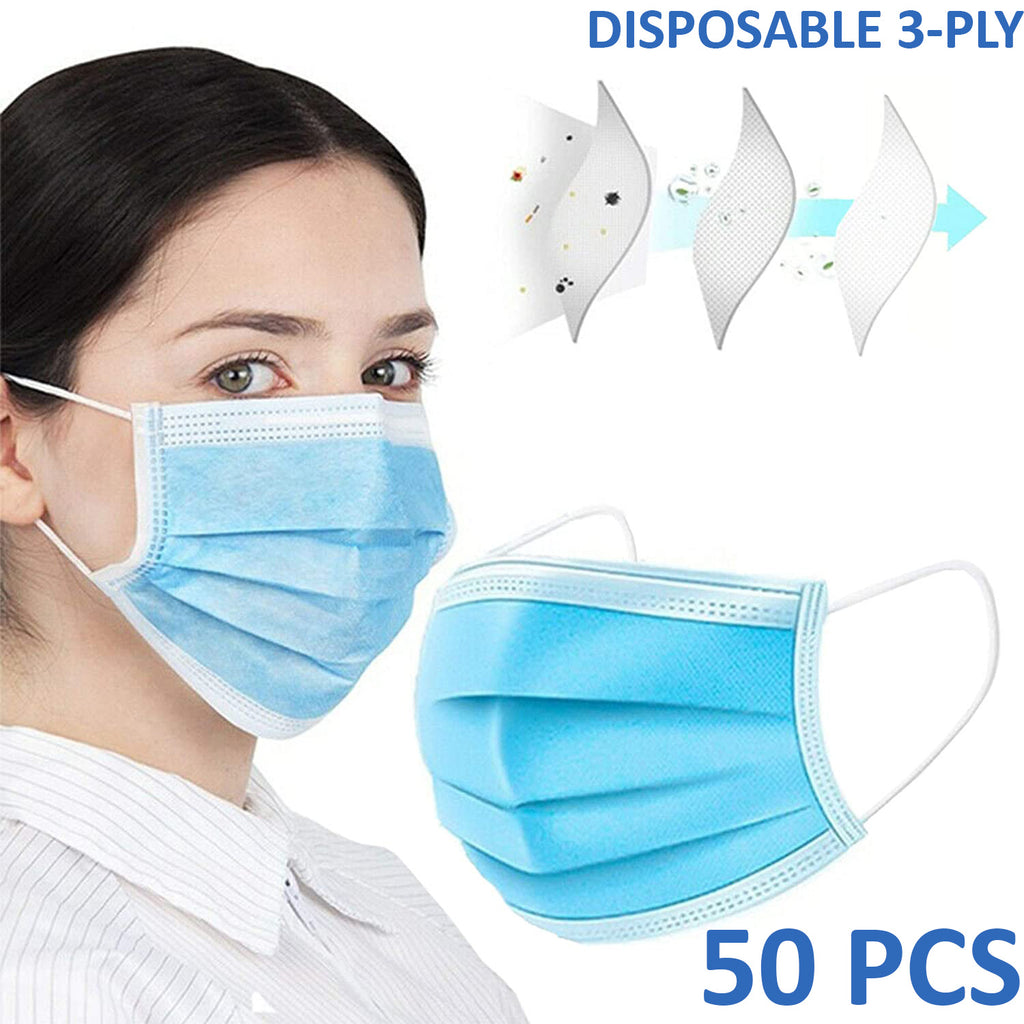 50 PCS Face Mask Medical Surgical Dental Disposable 3-Ply Mouth Cover