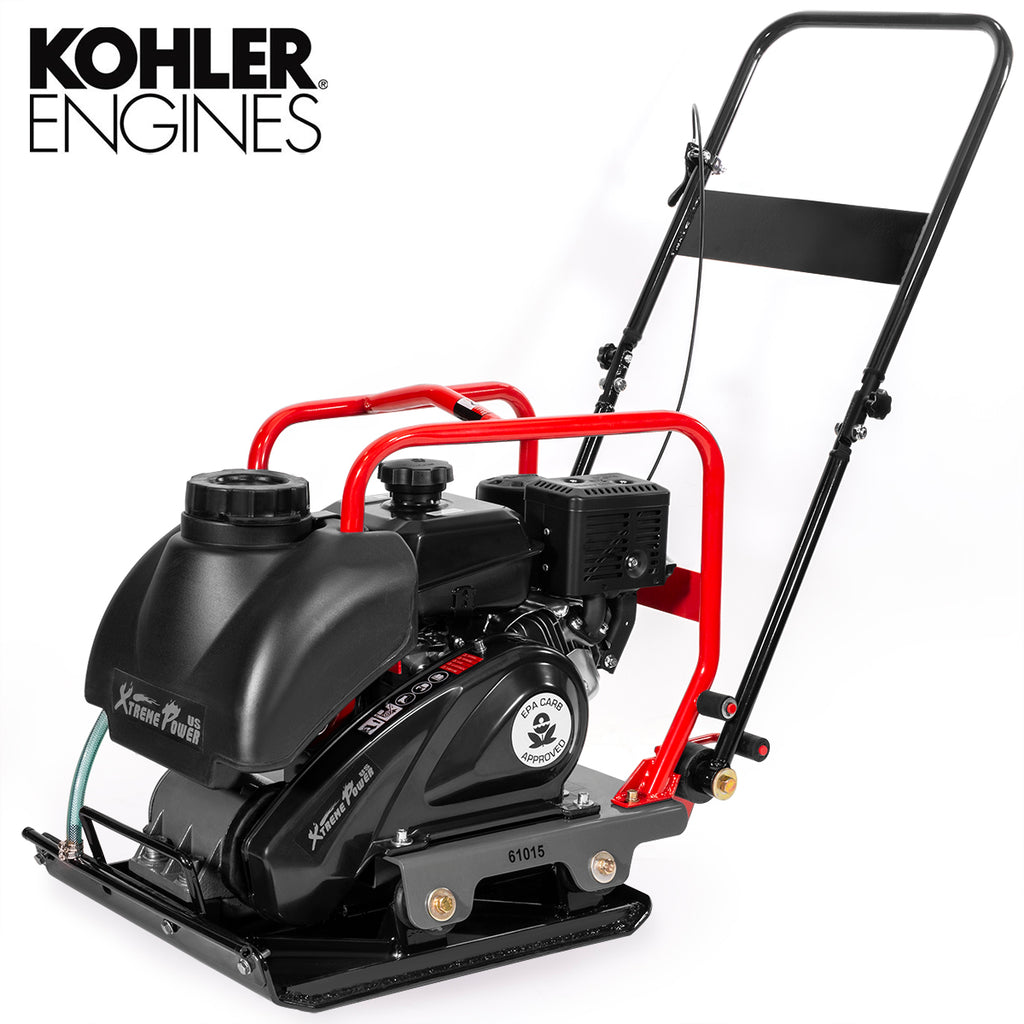 6HP 3,400-Pound Plate Compactor Vibration EPA CARB Kolher Engine with Water Tank
