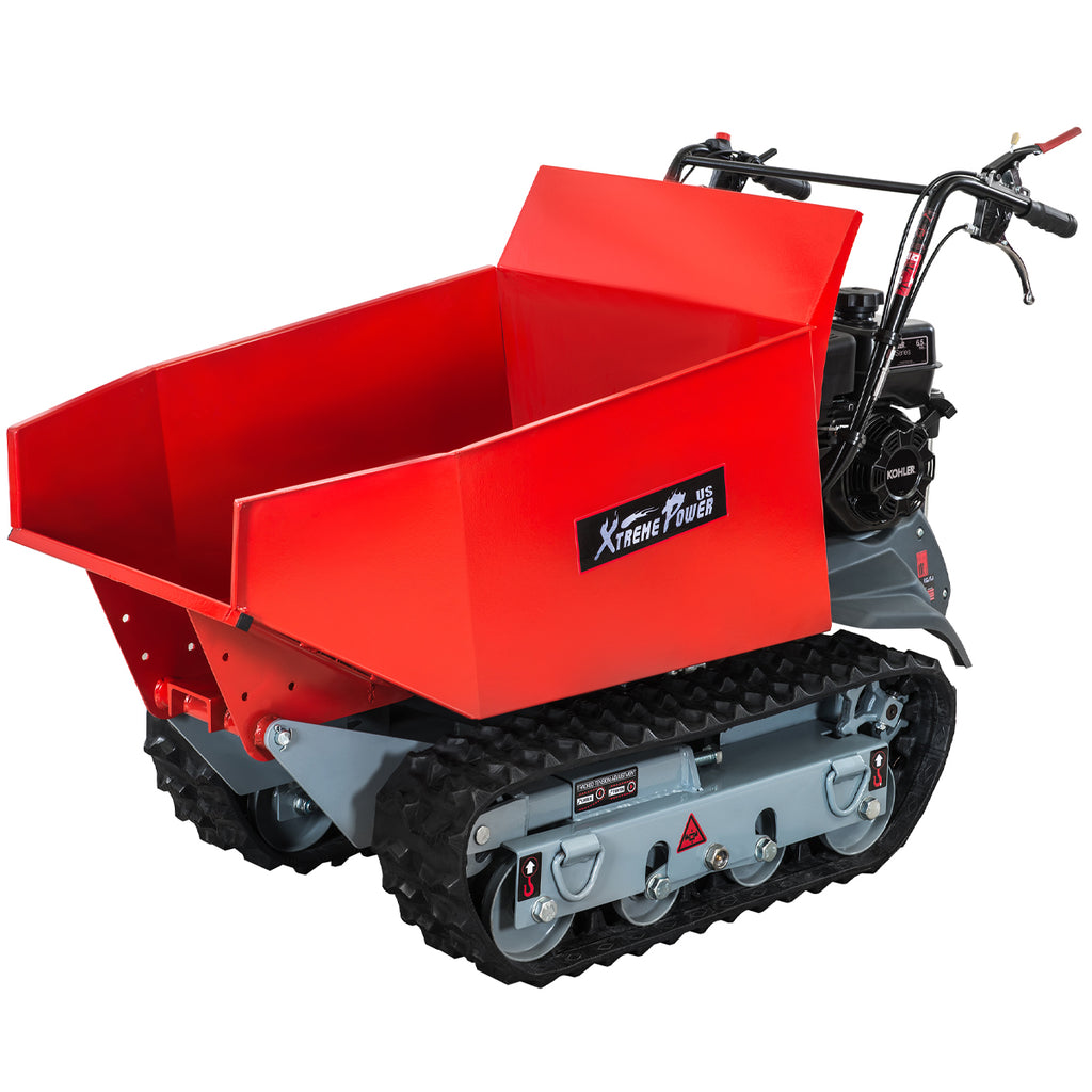 6.5HP All Terrain Track Barrow Dumper Hydraulic Assist 1100LBS Capacity 196cc