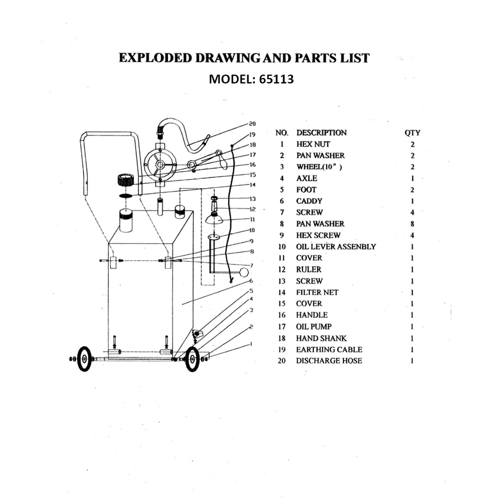 65113 - Rotary Pump Replacement Part 17 for 30 Gal. Gas Caddy