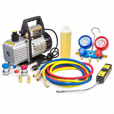 1/3 HP 4 CFM Air Vacuum Pump HVAC A/C Refrigerant Kit with AC Manifold Gauge Set and Leak Detector