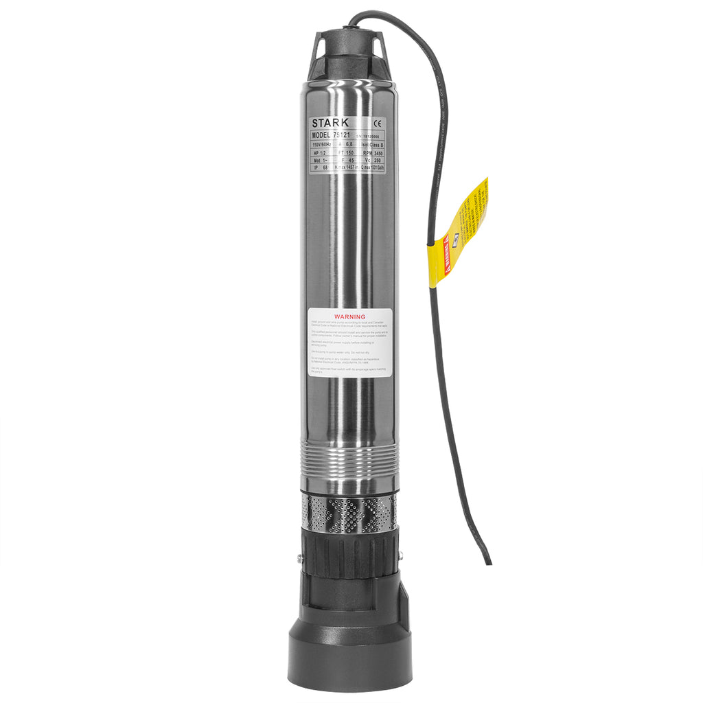 "1.1HP Stainless Submersible Pump 4"" Deep Bore Well Pump 110V, 33 GPM 200 ft MAX"
