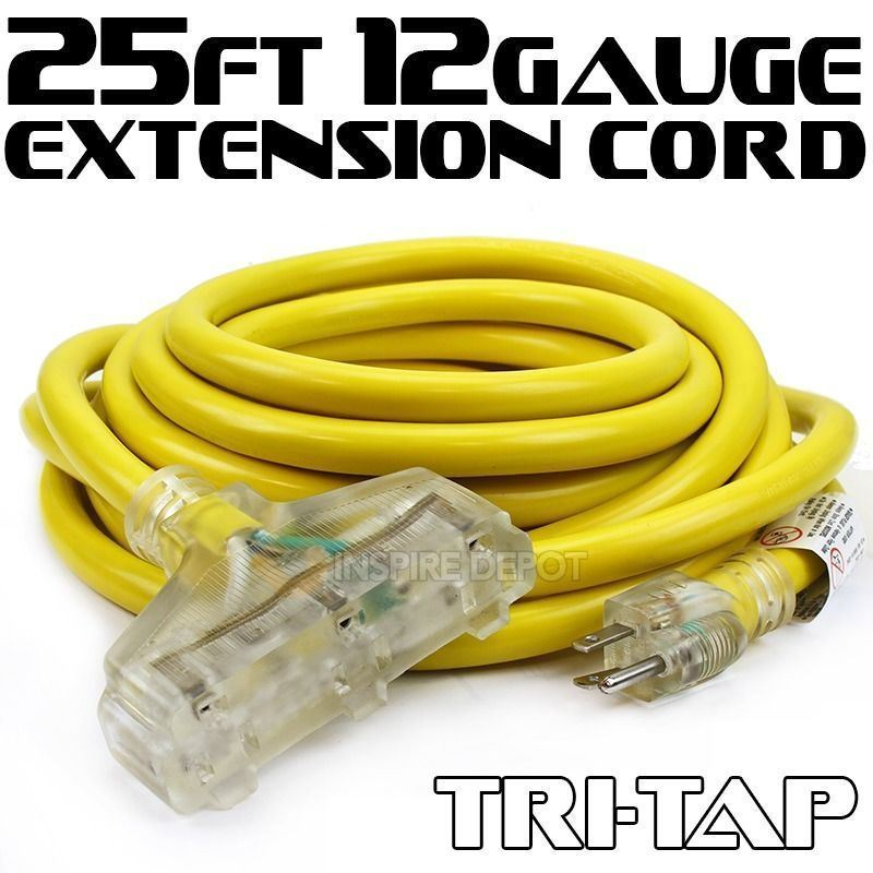 25ft 12-Gauge Extension Power Electricity Cord Wire (UL Approval) 125V, 15Amp Current Cable Clear TRI-TAP Plug SJTW Lighted 3 Outlets