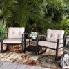 3PC Rocker Rattan Wicker Furniture Table Chair Sofa Cushioned Patio Outdoor