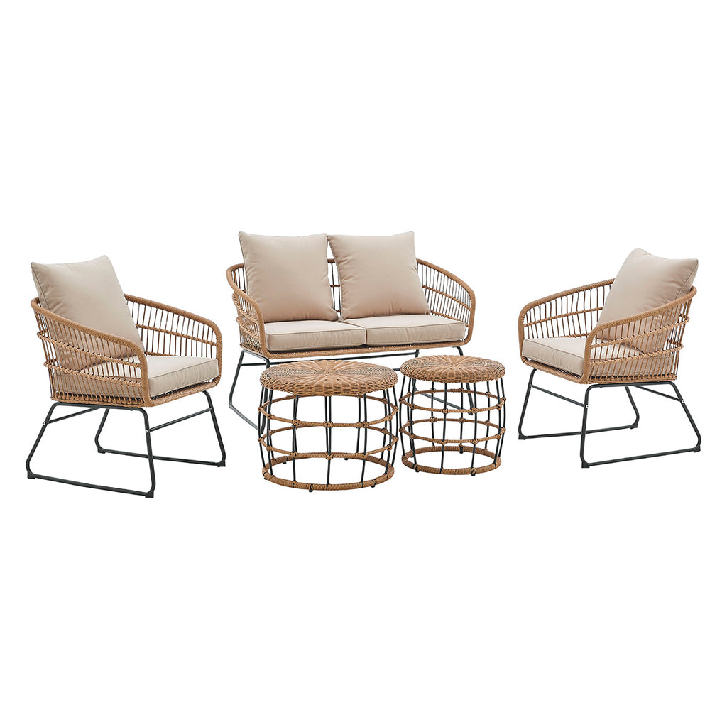 5-Pieces Outdoor Patio Sets Rattan Chairs with 2-Side-Table Sofa Sets Thick Cushion Seating and Back Set (Beige)