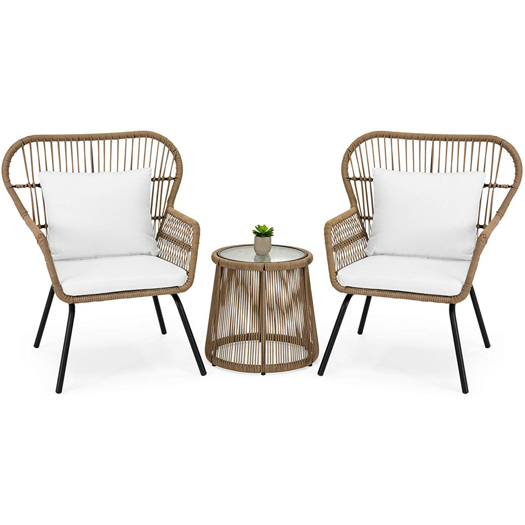 3 Piece Modern Patio Table and 2-Chairs Cushion Bistro Set Outdoor Wicker -Beige