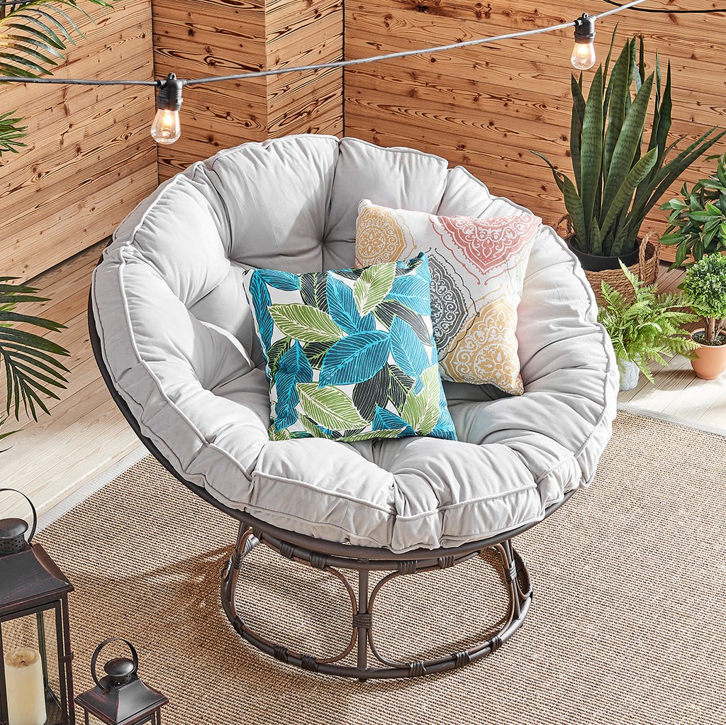 Moon Gray Papasan Chair w/ Cushion Durable Home, Grey