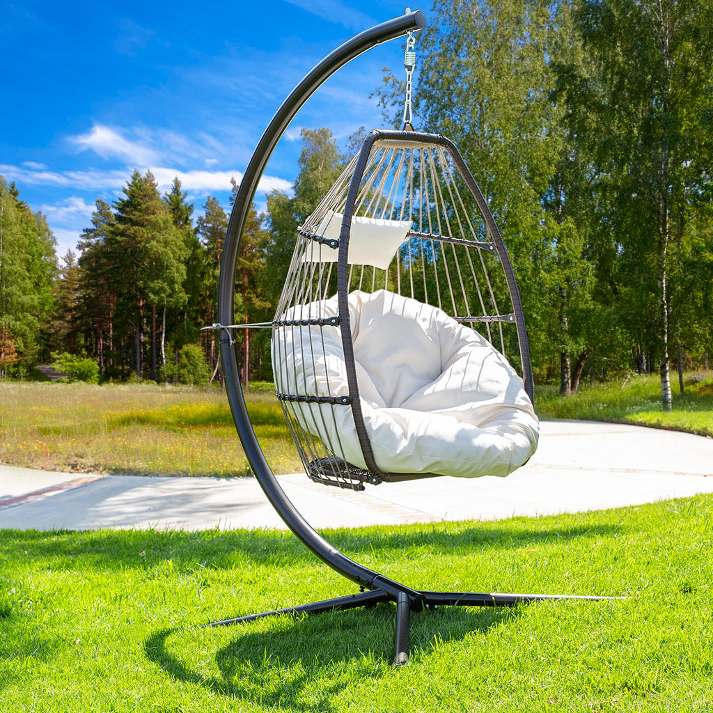 Premium Hanging Chair Swing Chair Patio Egg Chair UV Resistant Fluffy Cushion Large Basket Porch Lounge, Cream