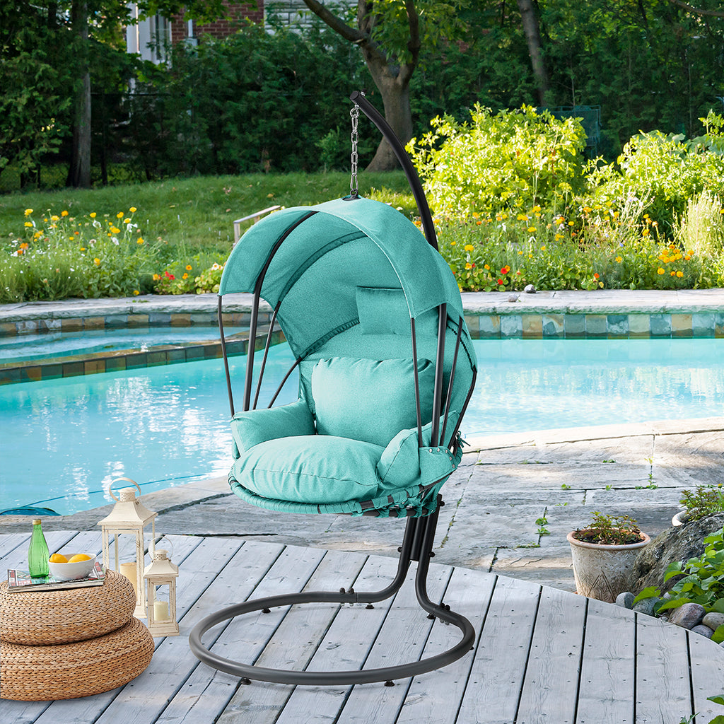 Deluxe Patio Lounge Hanging Swing Chair Stand Deep Seat Cushion w/ Canopy Shade
