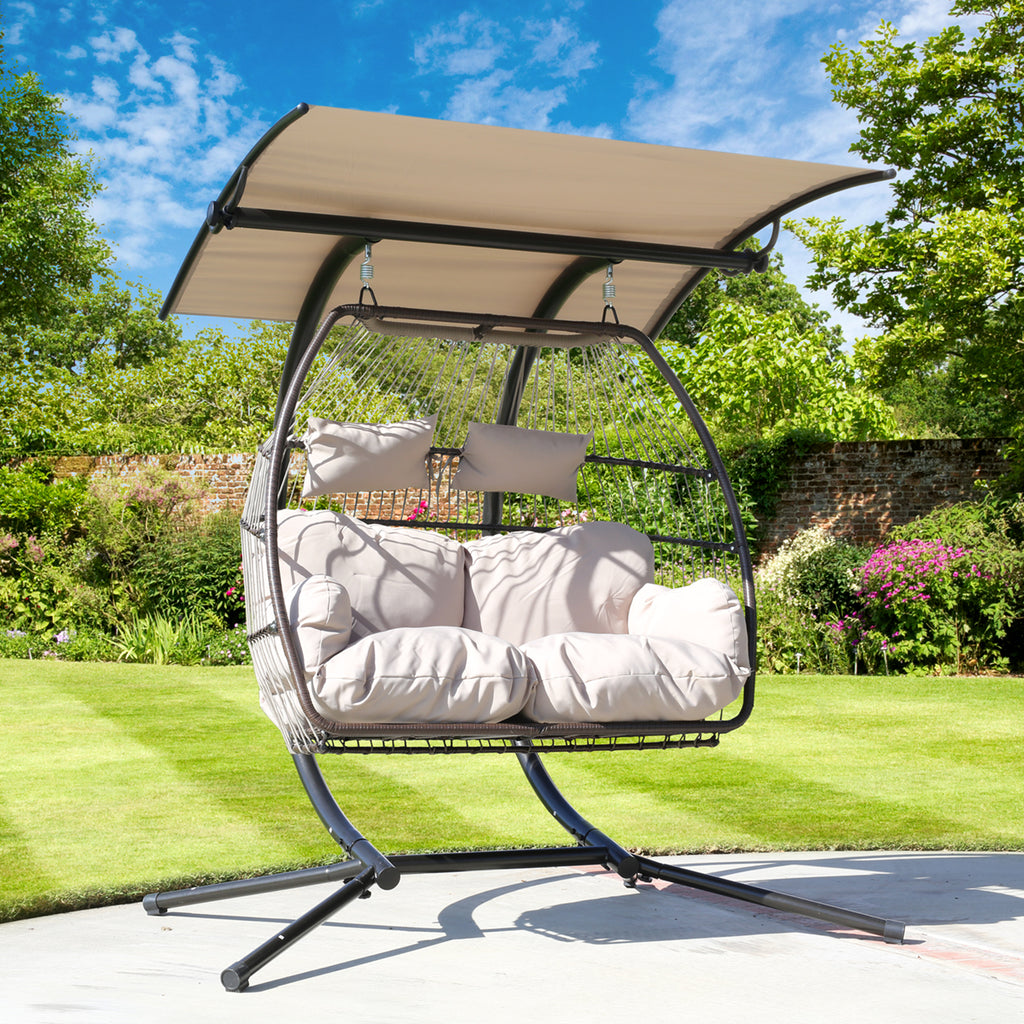 Luxury 2 Person X Large Double Swing Chair Wicker Hanging Egg Chair Xtremepowerus