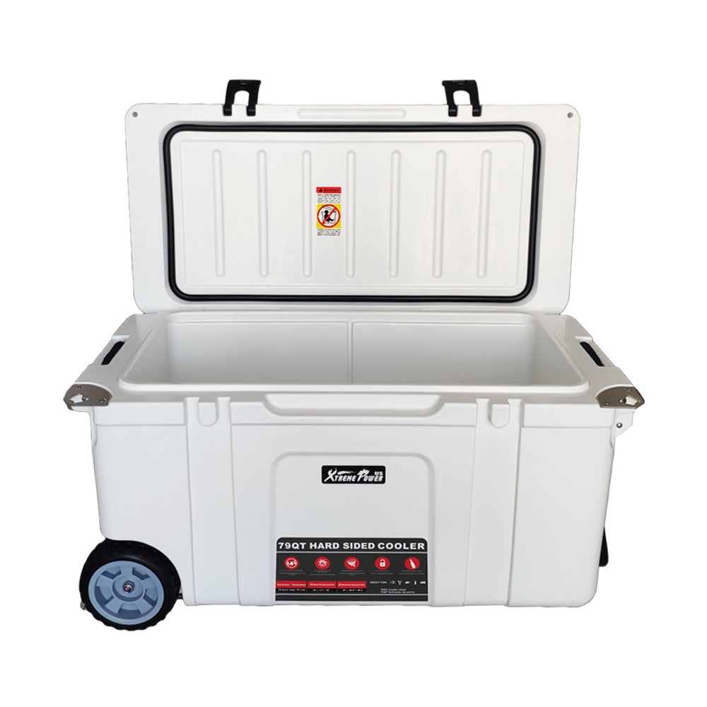 79 Quart Rolling Ice Chest Cooler Camping Insulated Lockable Cooler w/ Wheel