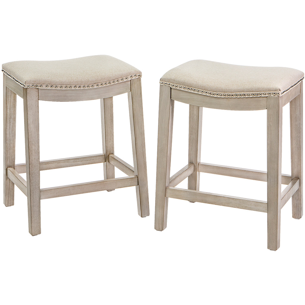 "2pc Elegant Curve Saddle Back 24"" Counter Height Backless Bar Stool Padded Chair"