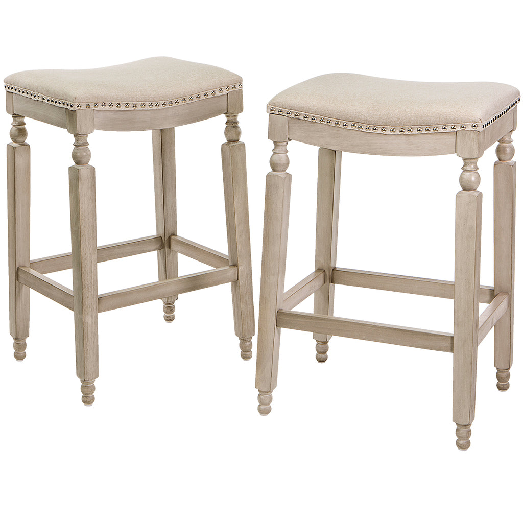 "Set of (2) Elegant Curve Saddle Back 28.5"" Counter Height Backless Stool Chair"