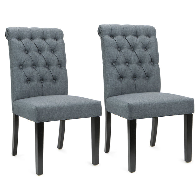 Set of (2) Linen Fabric Wood Accent Dining Chair Tufted Modern Living Room Gray