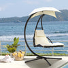 Hanging Chaise Lounger Patio Chair Outdoor Floating Canopy Swing Chair Hammock Arc Stand Air Porch Lounge Chair