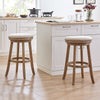 "Haily Backless Swivel 28"" Bar Stool in Solid Wood & Beige Polyester, Set of 2"