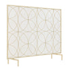 Single Panel Freestanding Fireplace Screen Spark Guard Protector Gate, gold