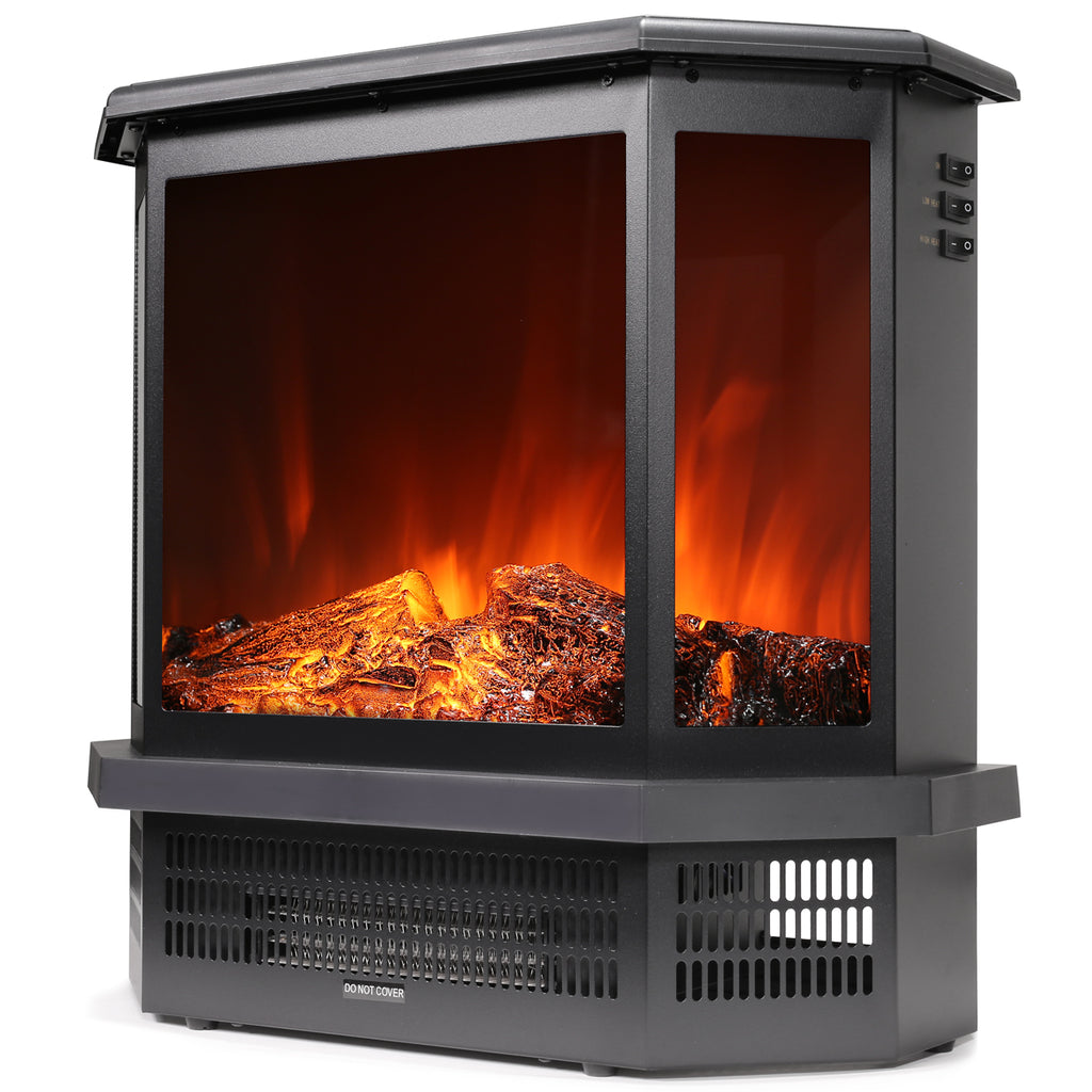 1500W 3D Electric Fireplace Freestanding Heater Flame Stove Realistic Effects