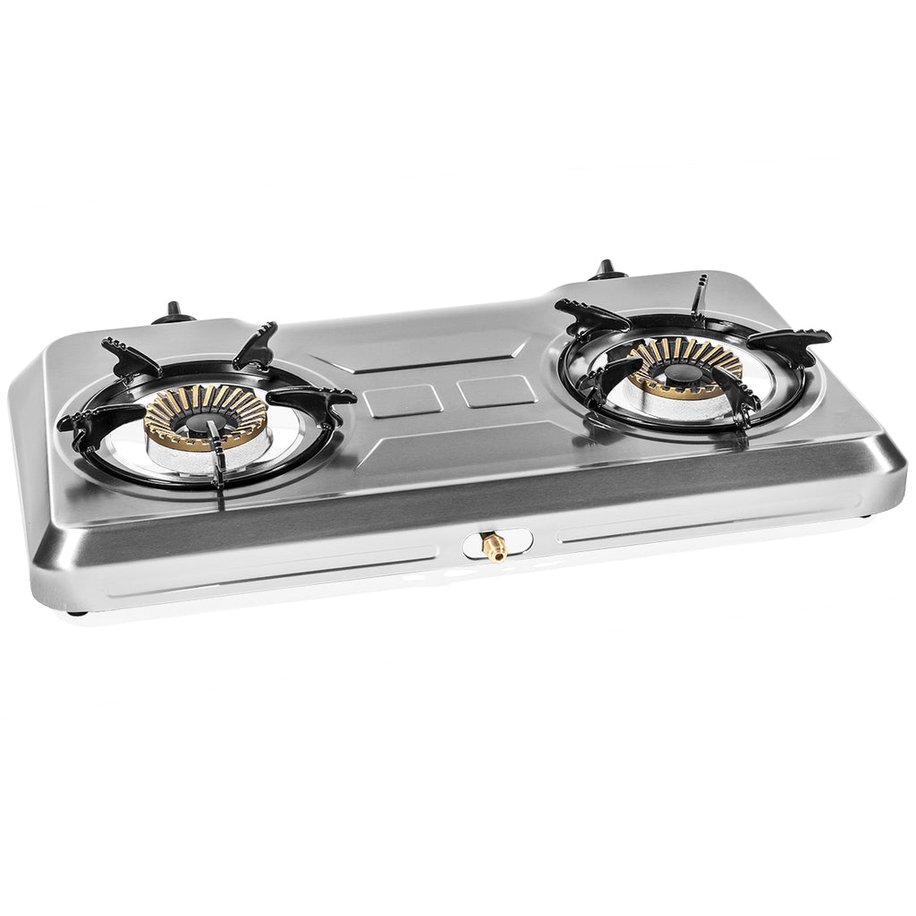 Stainless Steel Portable Propane Lpg Gas Stove Double 2 Burner Cook To Xtremepowerus