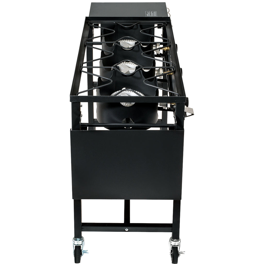 Triple-Burner Stove 87,000 BTU Outdoor Camping Propane Cooking Station 4 Hook
