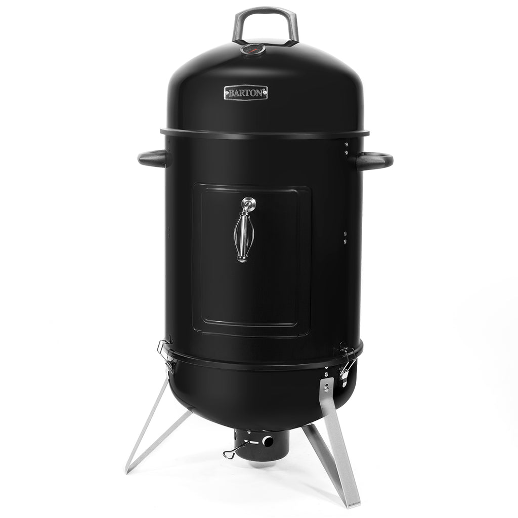 "18"" inch Portable Round Charcoal Smoker Vertical BBQ Grill Built-in Thermometer"