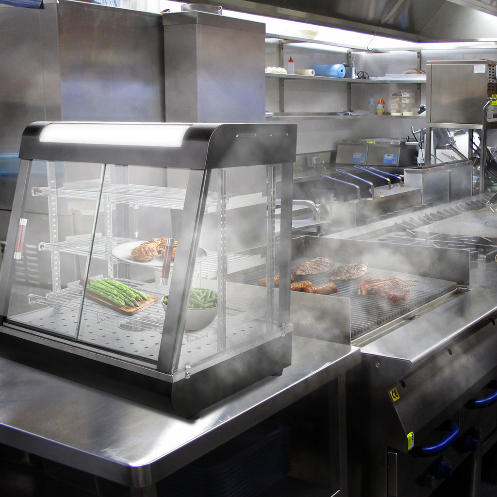 "27"" Glass Commercial Display Food Warmer Multi-Tier Heat Cabinet"