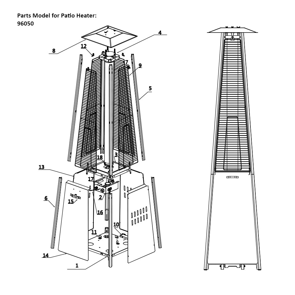 Glass Tube Replacement for Pyramid Patio Heater P96050-7