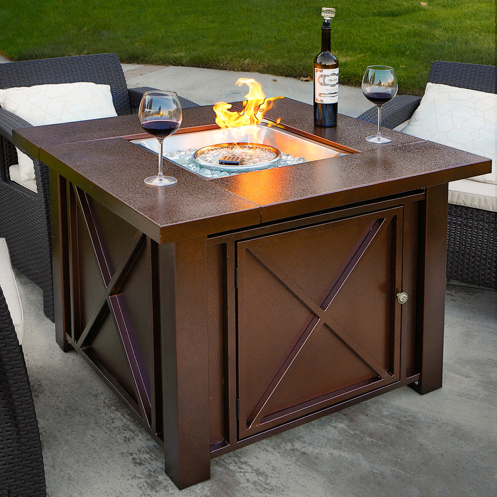 Picture of: Xtremepowerus Out Door Patio Heaters Lpg Propane Fire Pit Hammered Bro