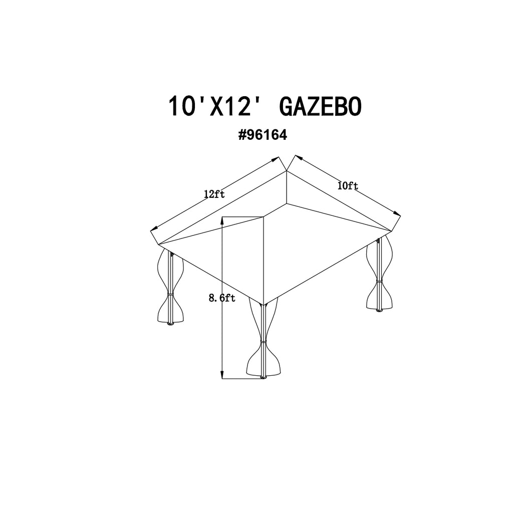 Cross Beam Part E Replacement for 10' x 12' FT. Gazebo P96164-E