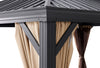 10' x 14' Outdoor Backyard Patio Gazebo Hardtop Panel Roof Curtains and Netting