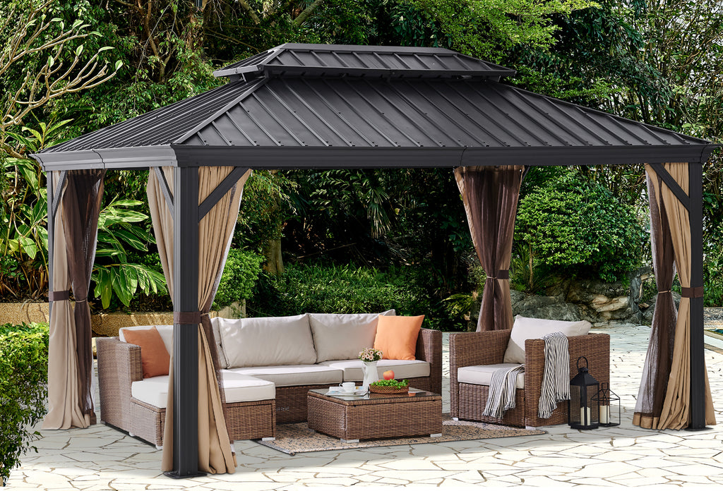 10 X 14 Outdoor Backyard Patio Gazebo Hardtop Panel Roof Curtains An Xtremepowerus