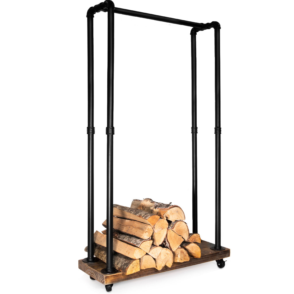 Rustic Rolling Cart Firewood Log Storage Stacking Rack Fireplace Wood Holder
