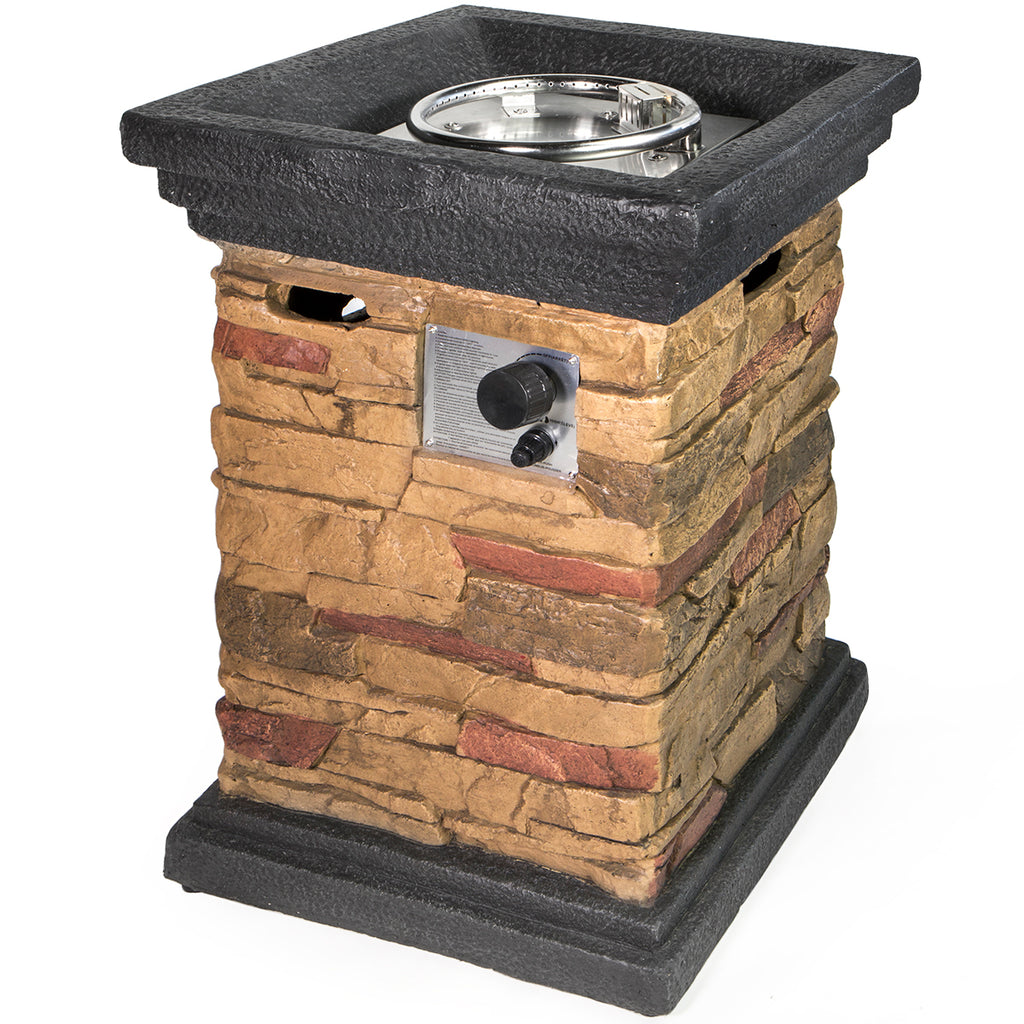 Slate Rock Square Column lpg Gas Propane Fire Pit column w/ Cover Kit