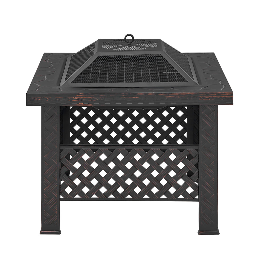 "26"" Outdoor Square Firepit Table Wood Fire Pit Firepit Spark Screen Cover Poker w/ BBQ Grill"