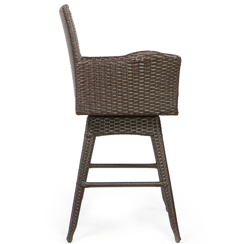 Outdoor Patio Furniture All-Weather Brown PE Wicker Swivel Bar Stool Set of 2