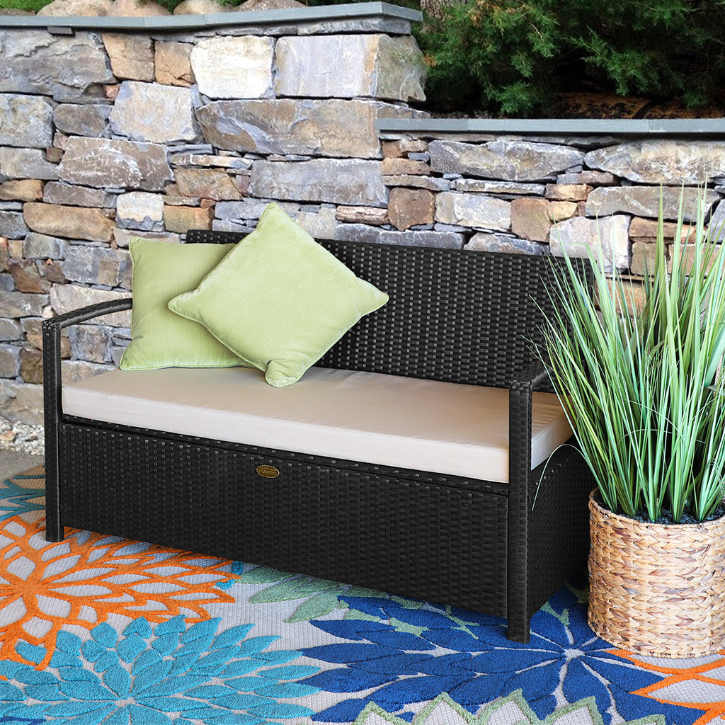 All Weather Uv Outdoor Storage Bench Garden Pool Deck Box Patio With C Xtremepowerus