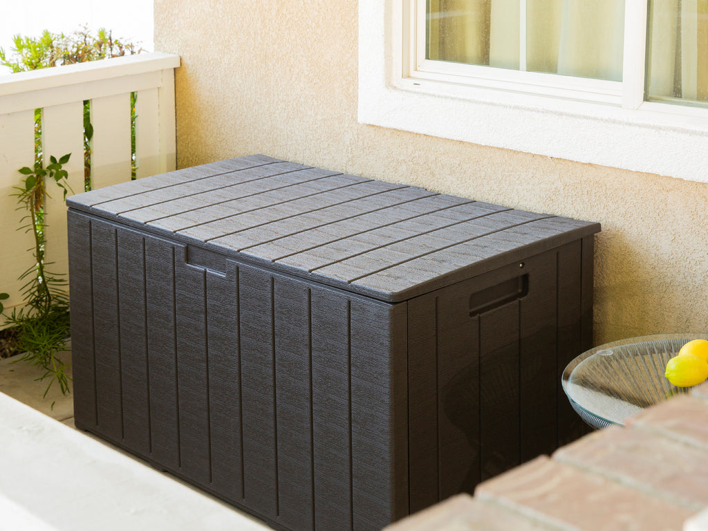 130 Gallon Outdoor Deck Box All-Weather Resin Wood Look Patio Storage Container