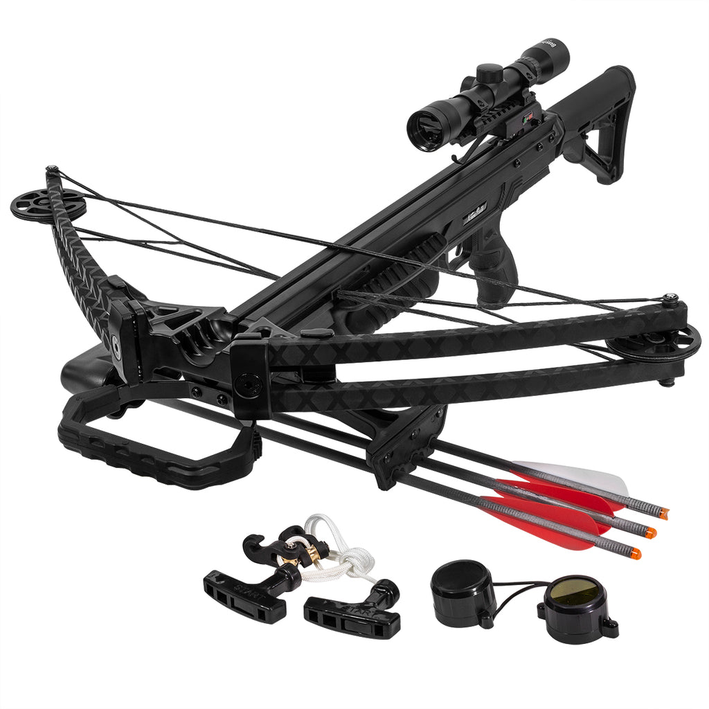 Outdoor Crossbow Archer 165 Lbs 380 fps Hunting w/ Built in Scope Package Set