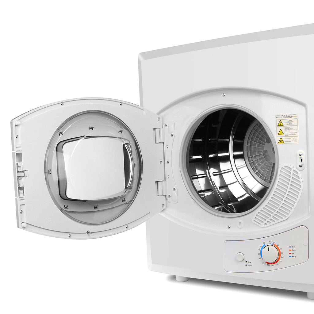 Electric Tumble Compact Laundry Dryer Stainless Steel Mounted 8.8lb Capacity, White