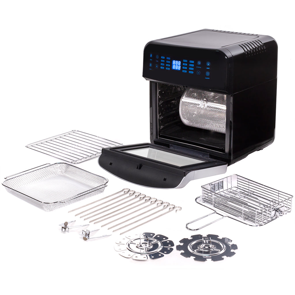 13 QT 1600W XL 16-in-1 Electric Air Fryer Oven w/ Rotisserie and Dehydrator Kit