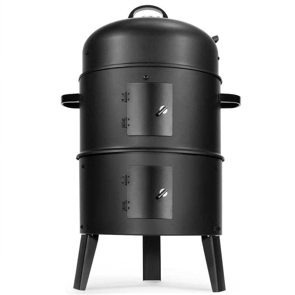 3 In 1 Portable Round Charcoal Smoker Vertical Bbq Grill Built In Ther Xtremepowerus