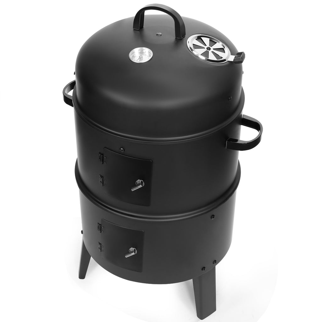 3-in-1 Portable Round Charcoal Smoker Vertical BBQ Grill Built-in Thermometer