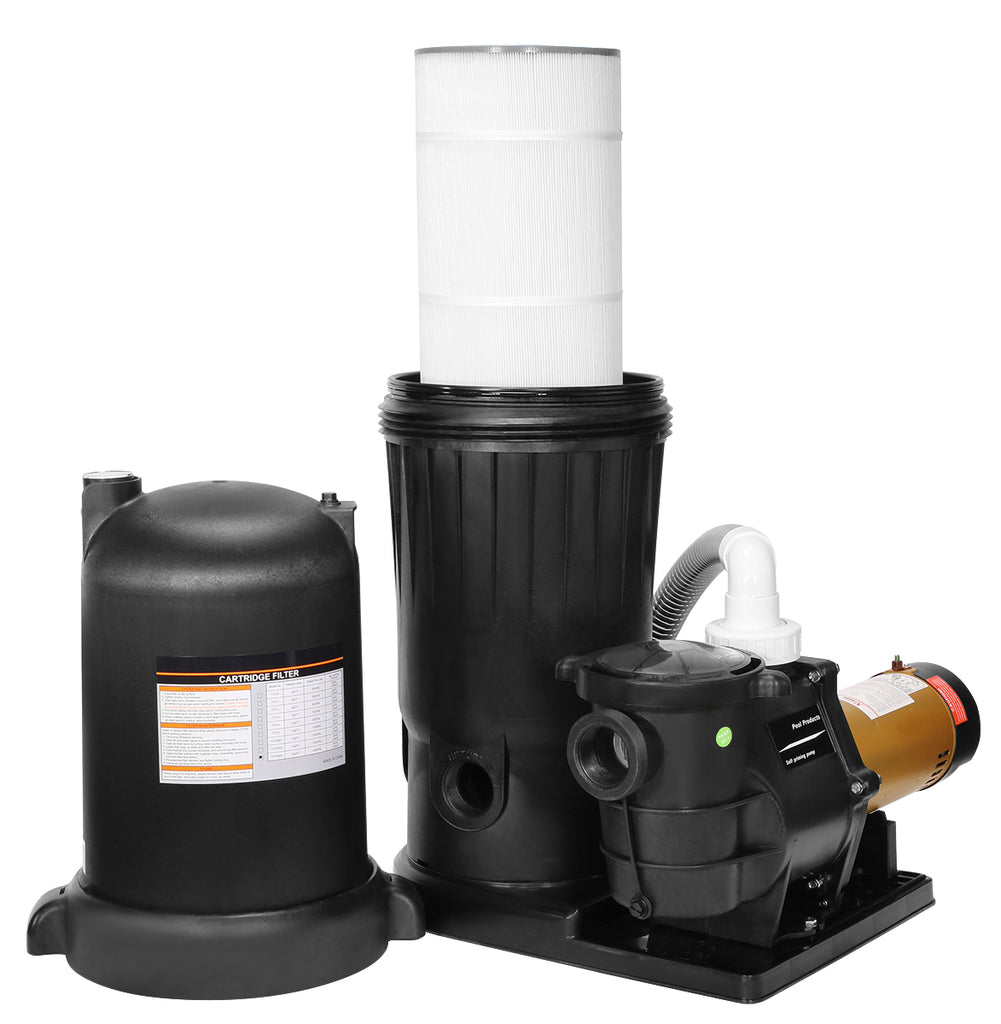 XtremepowerUS Cartridge Filter 200 sq ft and 2hp Pool Pump Dual Speed w/ Base Stand