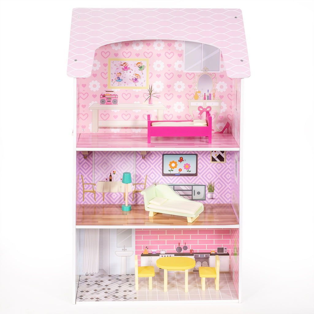 2-in-1 Doll House & Play Kitchen Pretend Playset Cooking 3 Level Dollhouse Set
