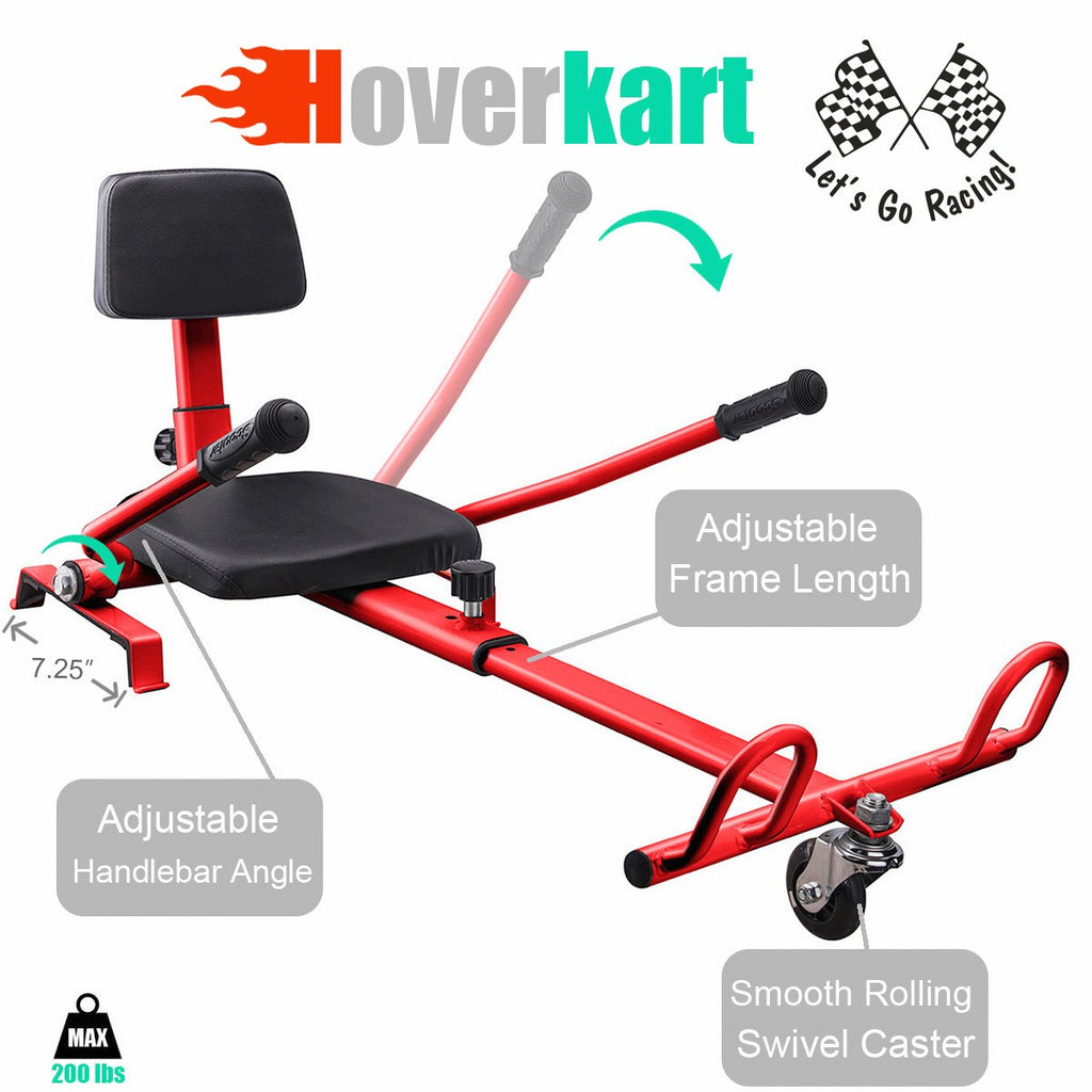 Electric Scooter Hover to Go Kart Attachment Seat Holder for (2) Wheel Balance, Red
