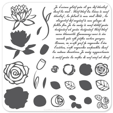 Simple Rose & Script (CjS-02) - Steel Stamping Plate
