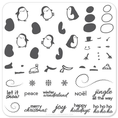 Penguins & Christmas Cheer (CjSC-03) - Steel Stamping Plate