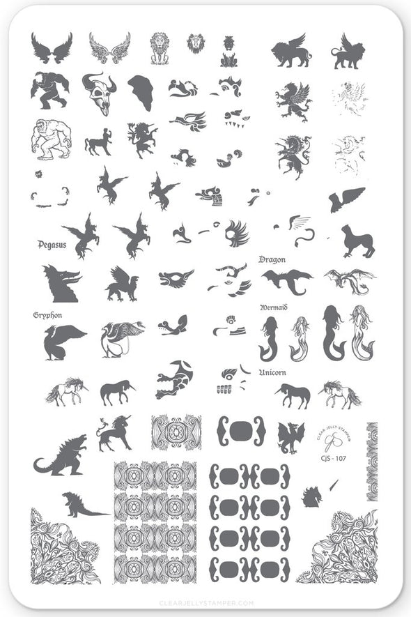 Mythical Creatures (CjS-107) Steel Stamping Plate