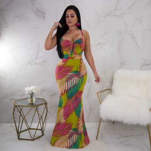 Virgin Pearls Collection Dress Ainsley Print Bow-Tie Maxi Diva Boutique MayvennHair Virgin Pearls Beauty fashion Hair
