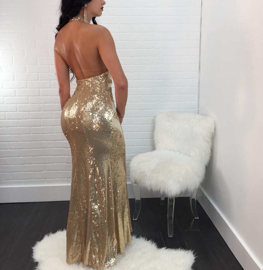 Virgin Pearls Collection Dress Carolina Halter Sequin Gown